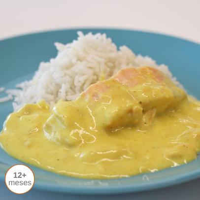 Salmão com Açafrão e Arroz Thai comida para bebé gourmet