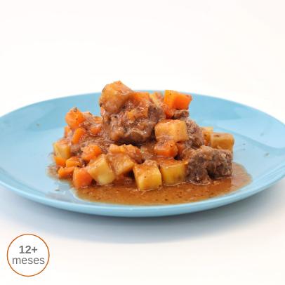 Vitelinha estufada com batata-doce comida para bebé gourmet